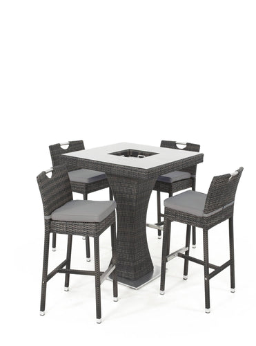 Rattan 4 Seat Bar Set with Ice Bucket Grey Weave