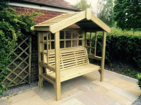 WOODEN COTTAGE ARBOUR – TRELLIS BACK AND SIDES (CVCA104)