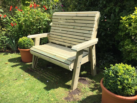 WOODEN ERGONOMICAL 2 SEATER BENCH (CVES102)