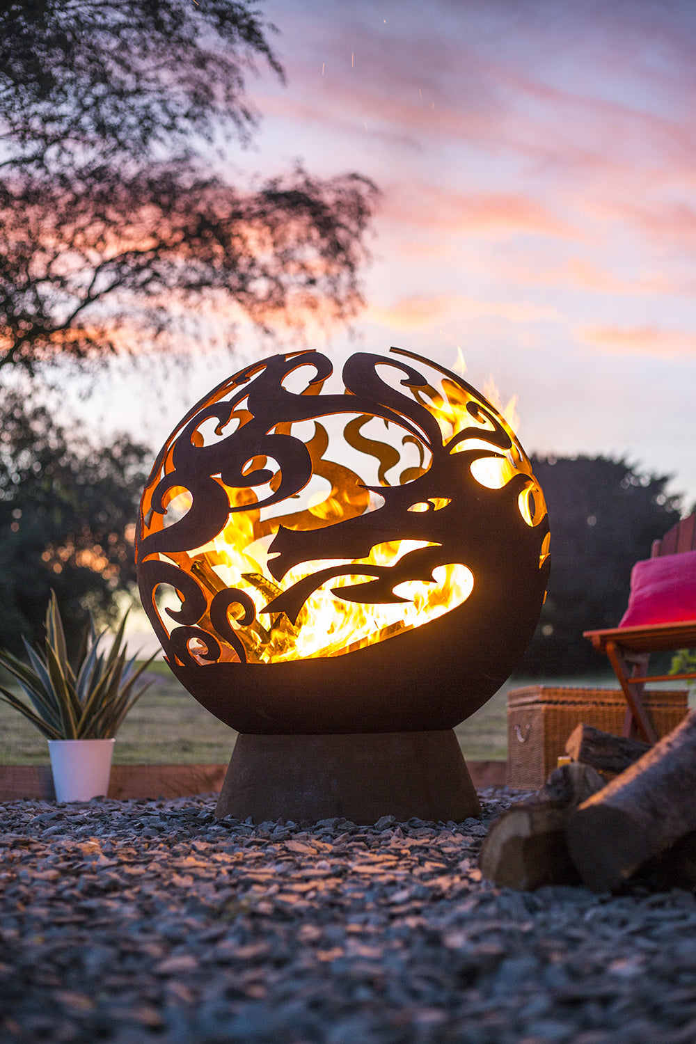 La Hacienda Oxidised Fire Globe Firepit Firebowl Outdoor Patio Heater Heating