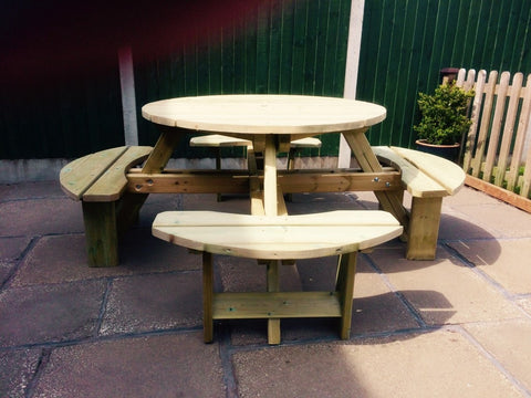 WOODEN WESTWOOD ROUND PICNIC TABLE (CVPT105)