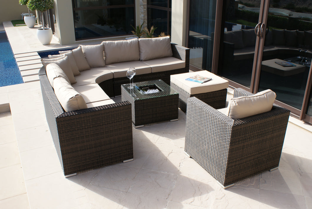 rattan barcelona corner group with ice bucket and chair brown weave