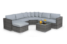 Rattan Barcelona Corner Sofa Group with Ice bucket Brown Weave