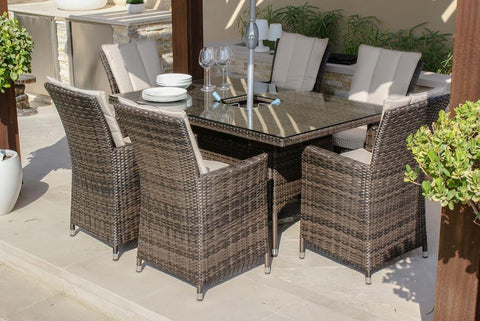 LA 6 Seat Rectangle Ice Bucket Weave Garden Furniture Set