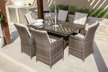 Rattan new Luxury  LA 6 Seat Rectangle Brown Weave Garden Furniture Set with Ice Buckets