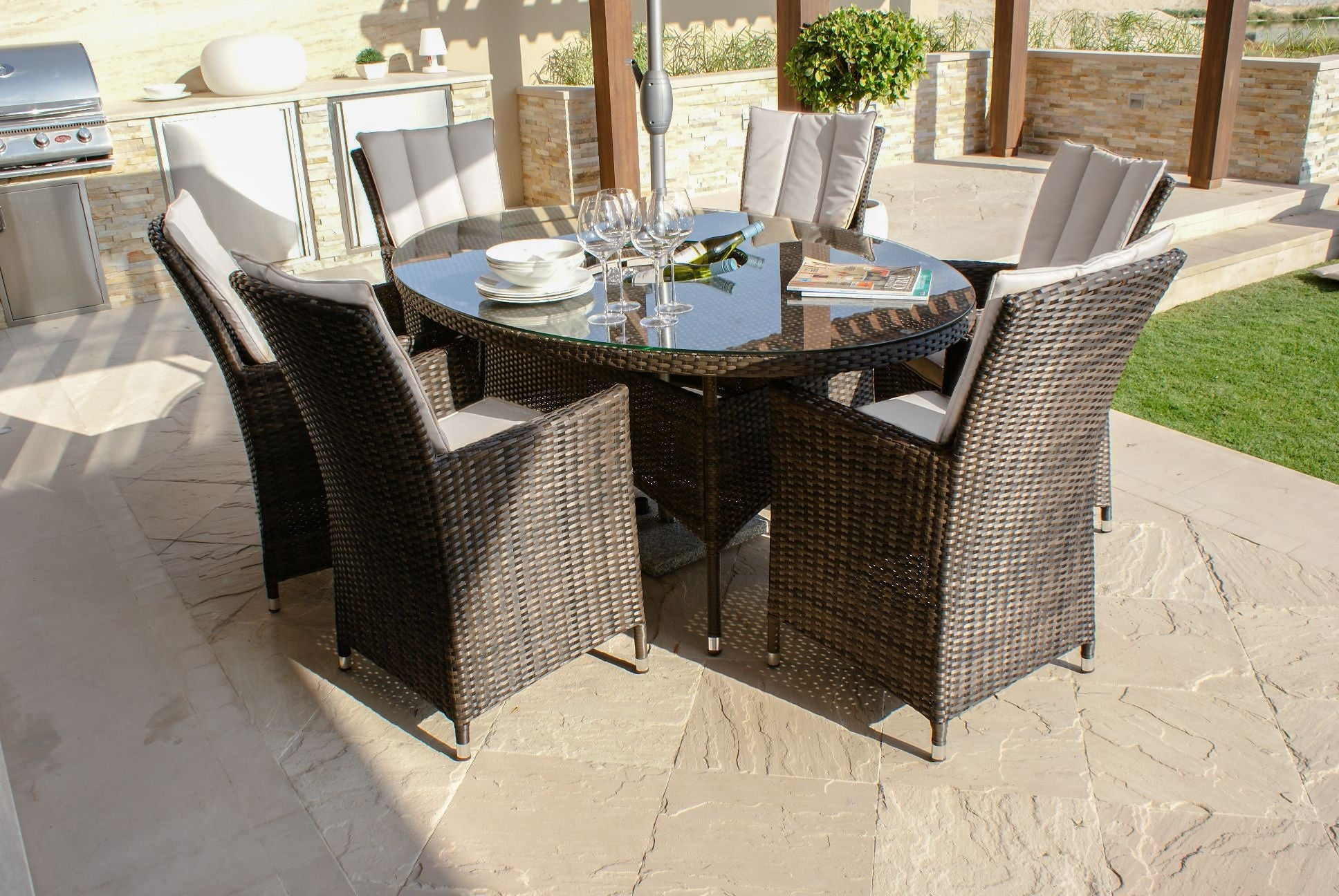 La 6 Seat Oval Set Garden Furniture Set Inc Ice Bucket Garden Furniture Uk