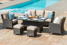 Rattan Venice Sofa Dining Set with Ice Bucket and Rising Table - Mixed Brown
