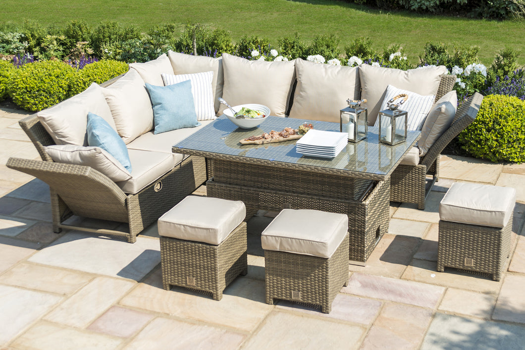 Rattan Tuscany Henley Corner Dining Set with Rising Table