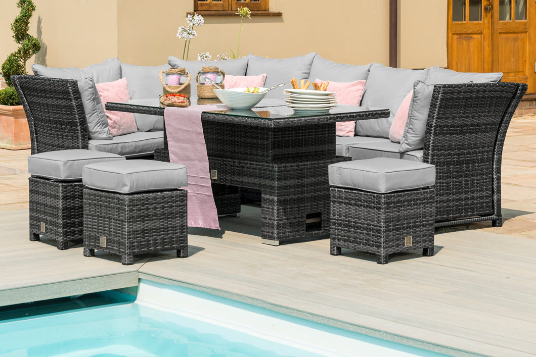 Rattan Henley Corner Dining Set with Rising Table - Mixed Brown