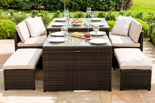 Rattan Lyon Sofa Dining Set - Mixed Brown