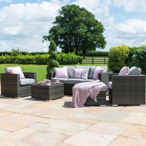 Georgia 5pc 3 Seater Rattan Corner Sofa Set with Ice Bucket