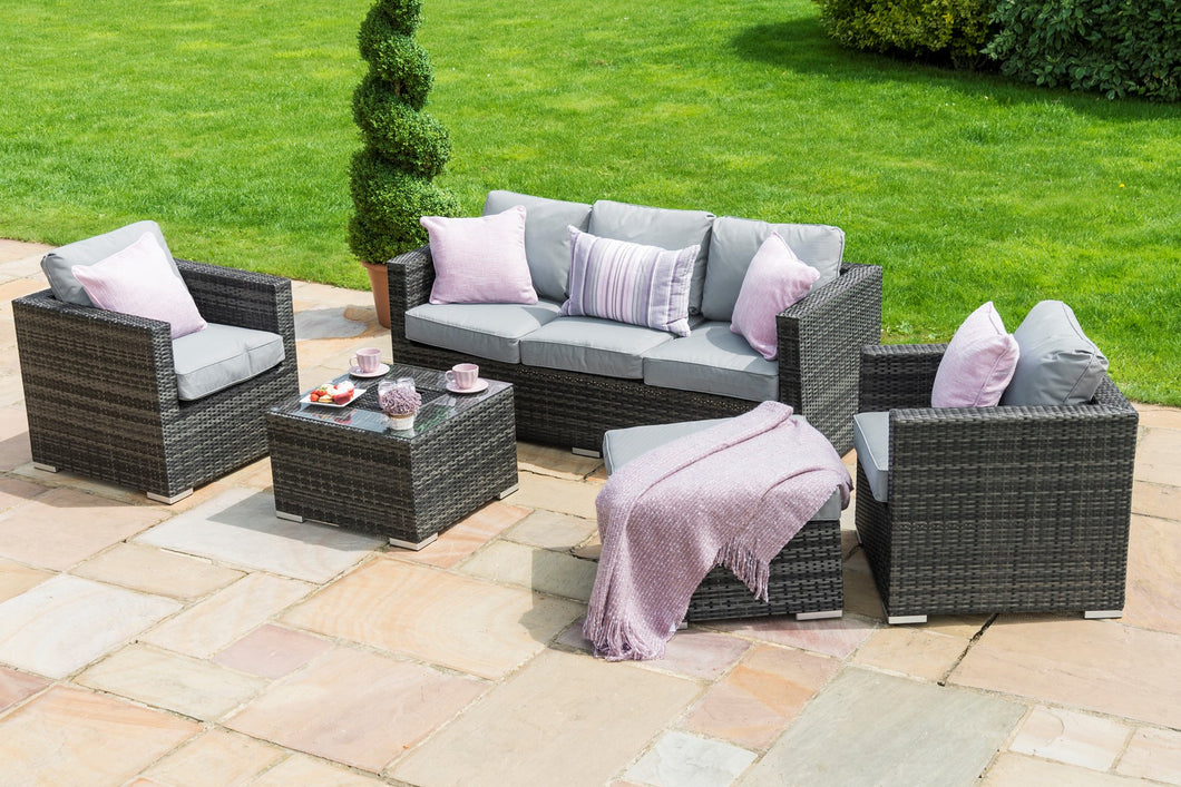 Rattan Georgia 5pc 3 Seater Rattan Corner Sofa Set with Ice Bucket Grey Weave
