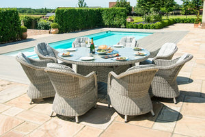 Oxford 8 Seat Round Fire Pit Dining Set with Heritage Chairs and Lazy Susan