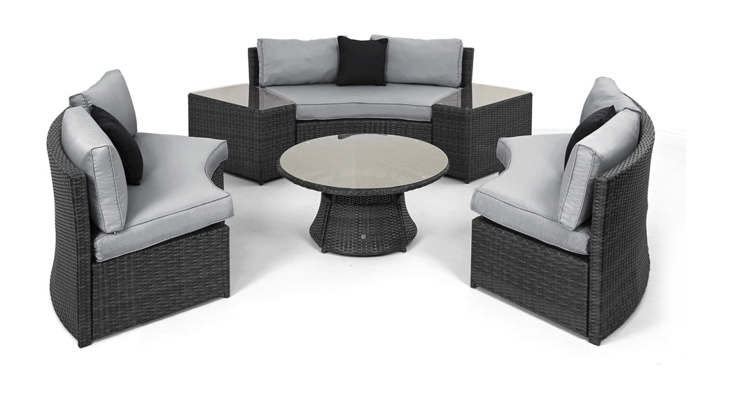 ... Rattan Half Moon Curved Corner Sofa Set Outdoor Garden Furniture Grey  Weave