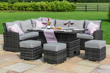 Rattan Kingston Corner Sofa Dining Set with Rising Table Grey Weave