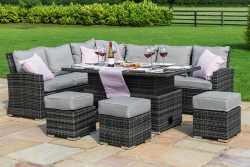 Rattan **NEW** Kingston Corner Sofa Dining Set with Rising Table Grey Weave