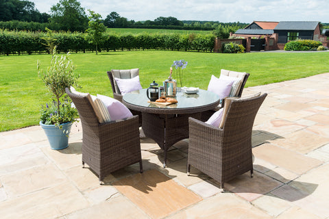 LA 4 Seat Round Weave Garden Furniture Set