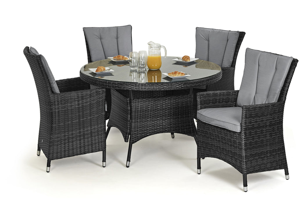 Rattan LA 4 Seat Round Brown Weave Garden Furniture Set