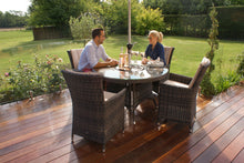 Rattan LA 4 Seat Round Dining Set with Ice Bucket Brown Weave