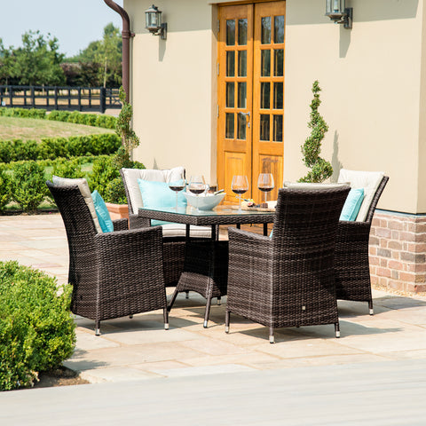 LA 4 Seat Square Weave Garden Furniture Set