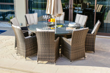 Rattan Luxury 8 Seat LA Round Dining Set  with ice bucket Grey Weave