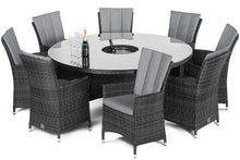 Rattan LA 8 Seat Round Dining Set  with ice bucket Grey Weave