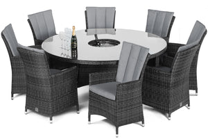 LA 8 Seat Round ice bucket Dining Set Grey Weave