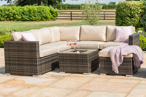 London Rattan Wicker Corner Sofa Set with Ice Bucket