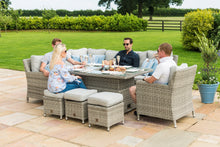 Rattan Oxford Dining Set with Armchair Ice Bucket and Rising Table