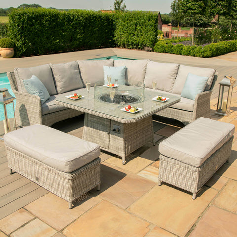 Oxford Royal Corner Dining Sofa Set With Fire pit Table