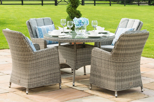 Rattan  Oxford 4 Seat Round Dining Set with Venice Chairs