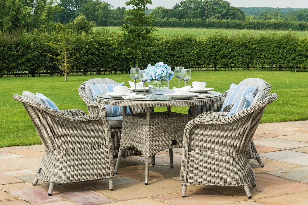 Rattan **NEW** Oxford 4 Seat Round Dining Set with Oxford Rounded Chairs