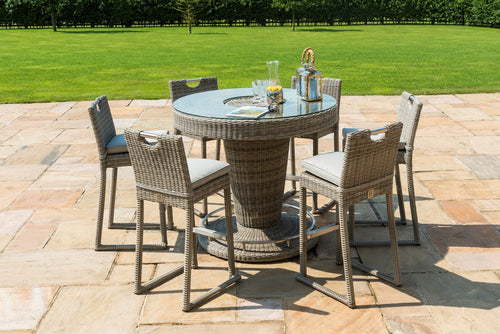 Rattan Oxford 6 Seat Round Bar Set with Ice Bucket
