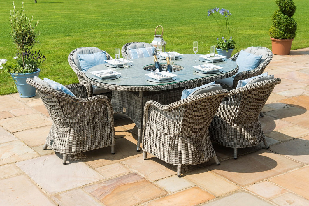 Rattan Oxford 6 Seat Oval Ice Bucket Dining Set with Heritage Chairs and Lazy Susan