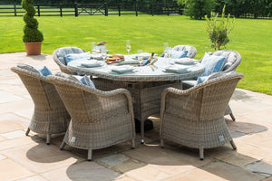 Oxford 6 Seat Oval Ice Bucket Dining Set with Heritage Chairs and Lazy Susan