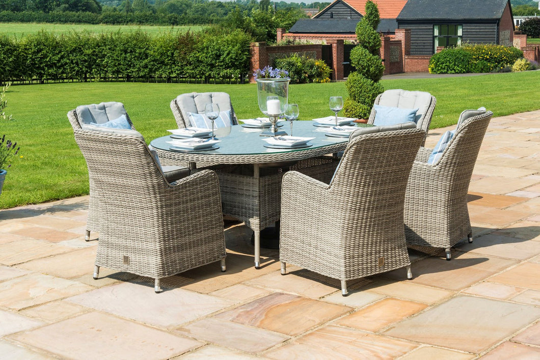 Rattan Oxford 6 Seat Oval with Ice bucket Dining Set with Venice Chairs and Lazy Susan