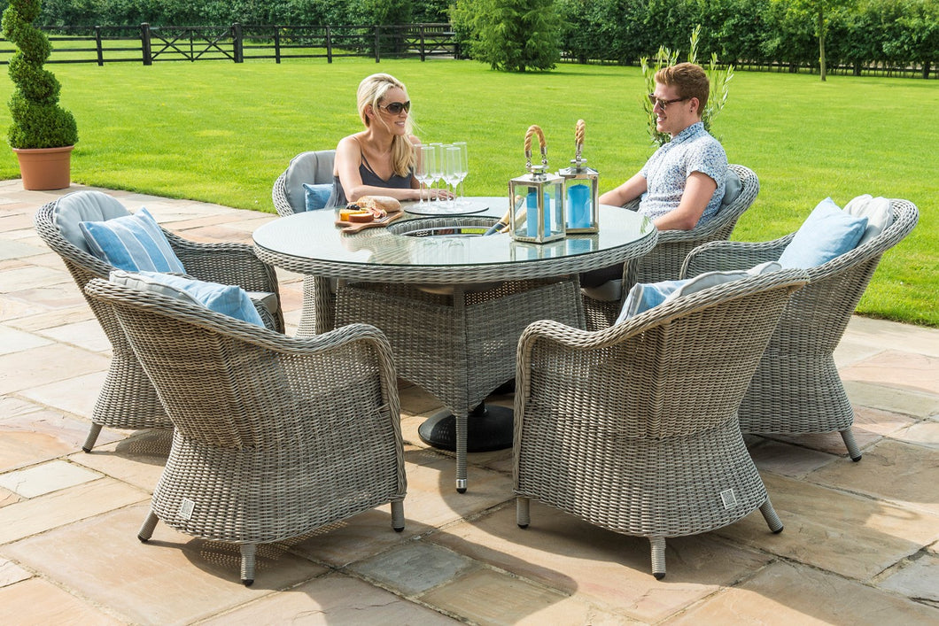 Rattan **NEW** Oxford 6 Seat Round Ice Bucket Dining Set with Rounded Chairs and Lazy Susan