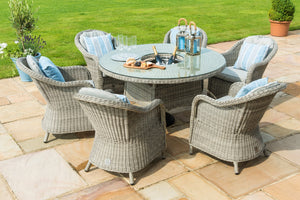 Oxford 6 Seat Round Ice Bucket Dining Set with Heritage Chairs and Lazy Susan
