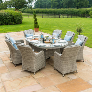 Oxford 8 Seat Oval Ice Bucket Dining Set with Venice Chairs and Lazy Susan