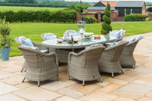 Rattan **NEW** Oxford 8 Seat Oval Ice Bucket Dining Set with Rounded Chairs and Lazy Susan
