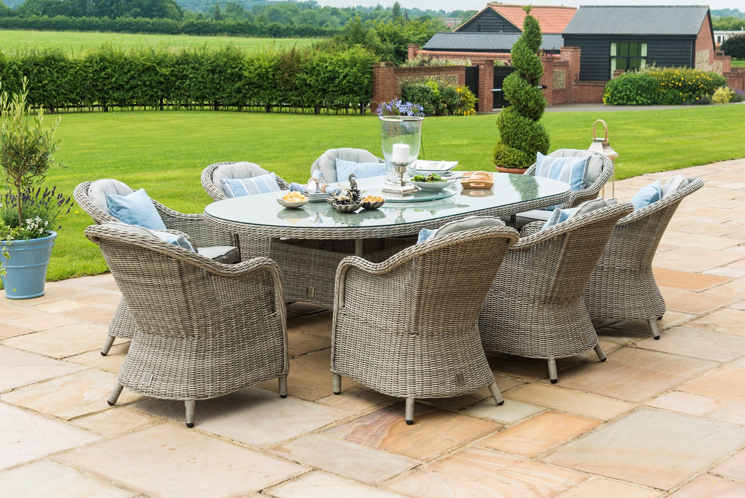 Rattan Oxford 8 Seat Oval Ice Bucket Dining Set With