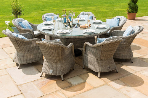 Rattan **NEW** Oxford 8 Seat Round Ice Bucket Dining Set with Rounded Chairs and Lazy Susan