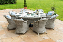 Rattan Oxford 8 Seat Round Ice Bucket Dining Set with Heritage Chairs and Lazy Susan