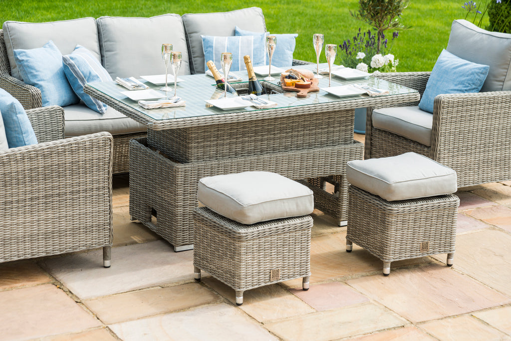 Rattan Oxford Sofa Dining Set with Ice bucket and Rising ...