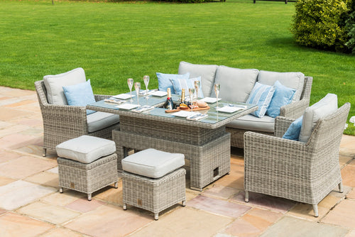 Rattan Oxford Sofa Dining Set with Ice bucket and Rising Table