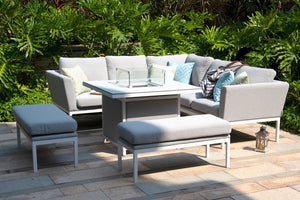 Pulse Square Corner Dining Set with Fire Pit