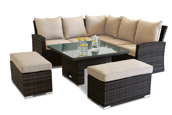 Rattan **NEW** Richmond Corner Bench Set with Rising Table Brown Weave