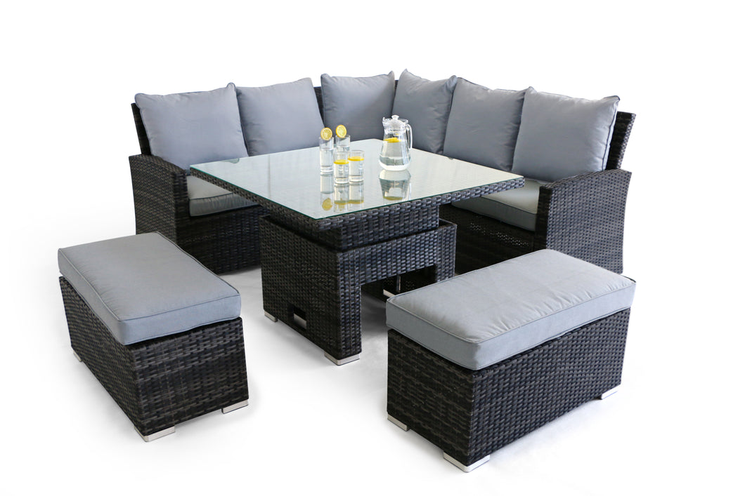 Rattan Richmond Corner Bench Set with Rising Table Brown Weave
