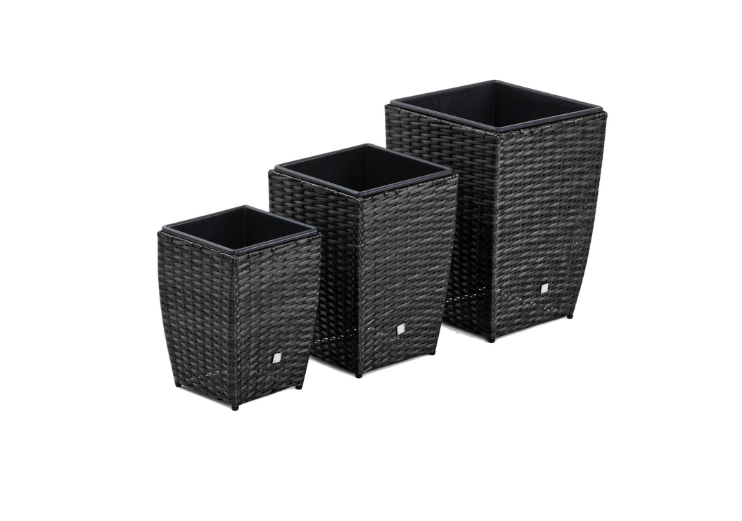 Rattan Set of 3 Shaped Planters Garden Furniture Brown Weave
