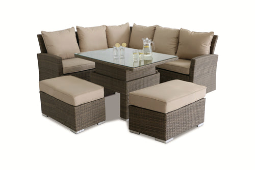 Rattan Tuscany Richmond Corner Bench Set with Rising Table
